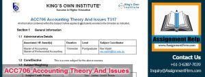 ACC706 – Accounting Theory Assignment