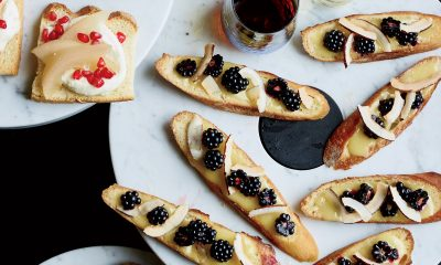 Toasts with Chef William Werner + Lemon Olive Oil Curd, Caramelized Coconut Almonds, Toasted Baguette + Yuzu Kosho Cashew Butter, Maple, Candied Citrus Slices, Toasted Brioche + Whipped Vanilla Ganache, Pear, Pomegranate, Toasted Pain de Mie + A150901 Food & Wine + Reinventing the Holidays + Dec 2015