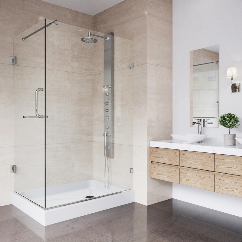 Stylish washroom with frameless shower enclosures Seattle WA