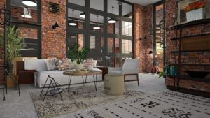 A loft apartment in an industrial building.