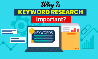 Keywords Research banner. Laptop with a folder of documents and