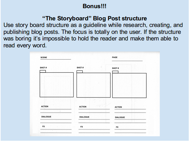 Story boardblog post structure