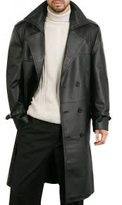 Men's Leather Trench Coats For Sale